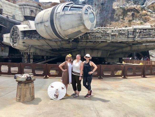 three friends visiting star wars land