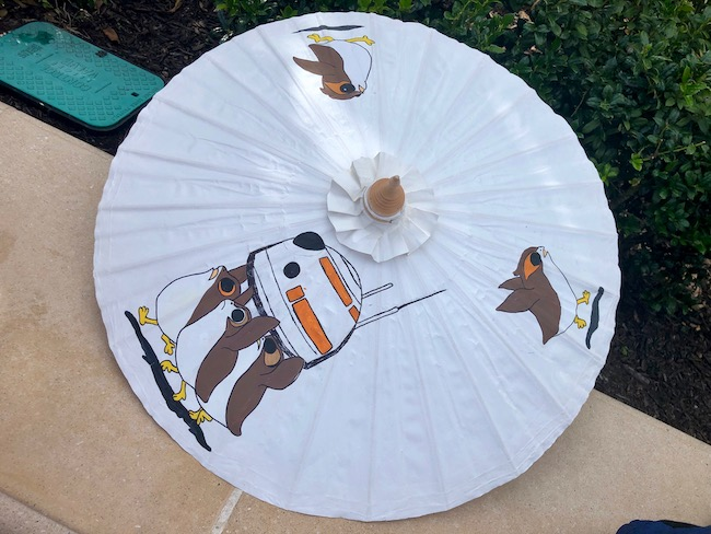 star wars inspired hand painted parasol for a porg disneybound