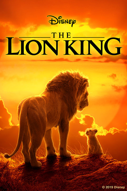 The Lion King DVD Digital computer animation poster of Simba and Mufasa against a sunset (2019)