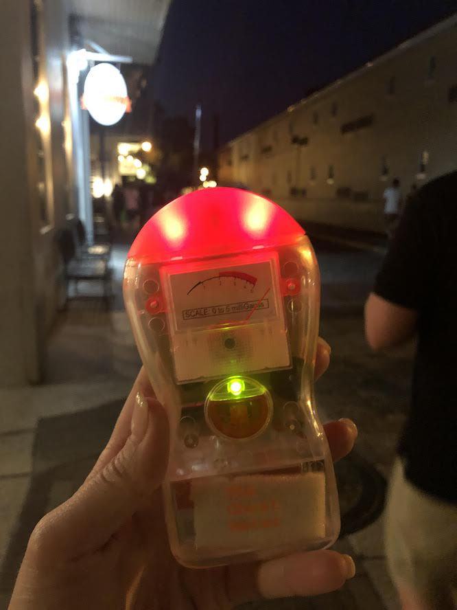 Saint Augustine Haunted Pub Crawl on Charlotte Street - a live ghost meter picking up a signal