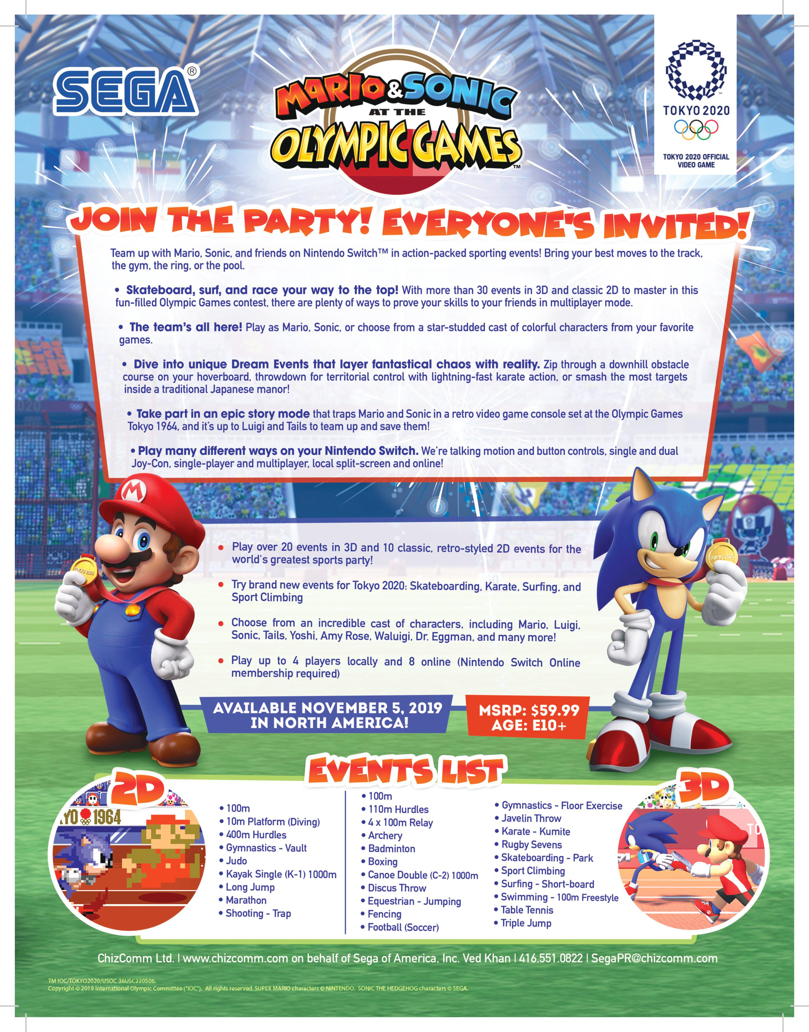 nintendo switch Mario & Sonic at the Olympic Games Tokyo 2020 fact sheet