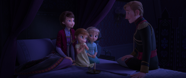 The Frozen Royal family sits and listens to the king tell a story
