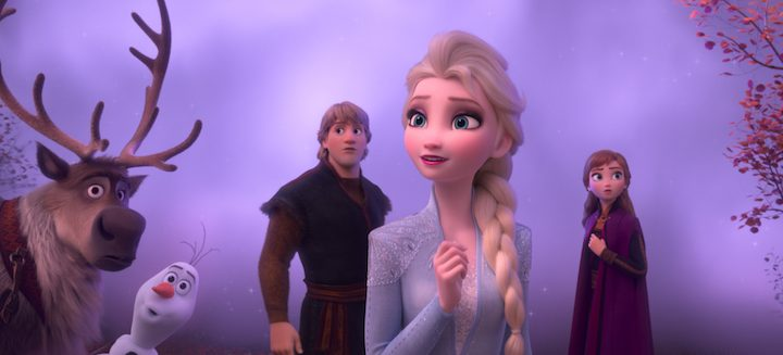 FROZEN 2 fog surrounds Elsa, Anna, Kristoff, Sven and Olaf. Elsa looks hopeful
