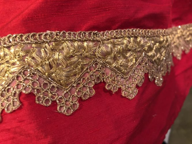 indian gold silk sari trim