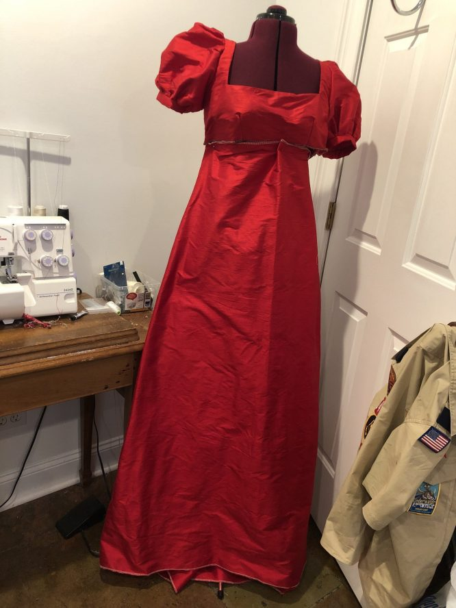 Dolley Madison red dress in progress