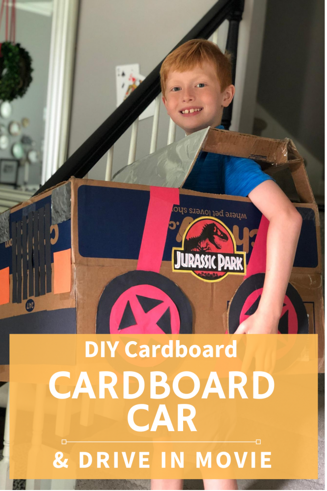 cardboard car DIY and drive in movie at home