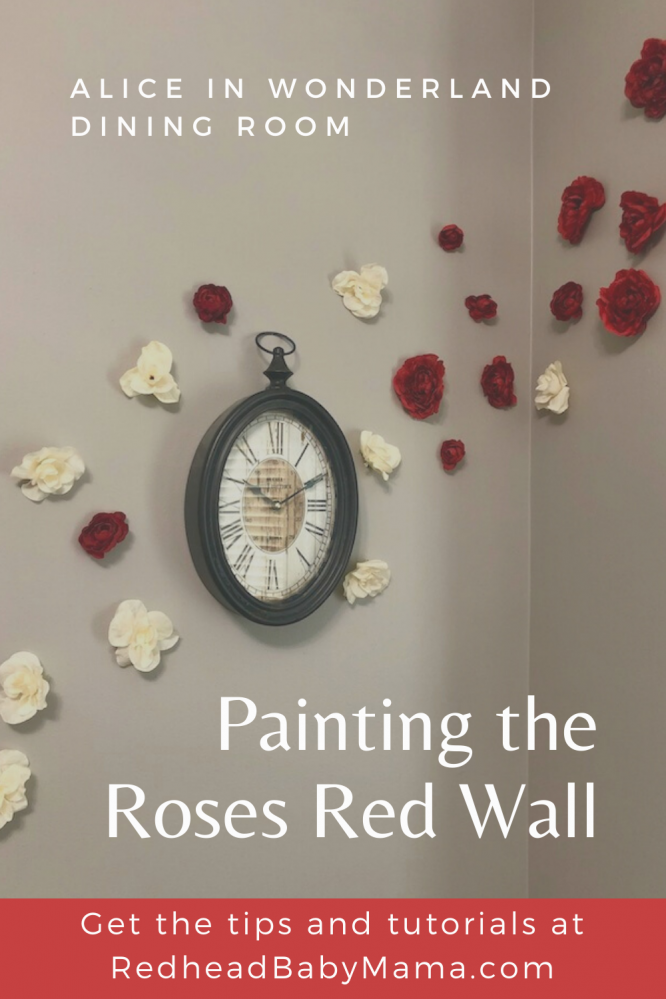 Alice in Wonderland flower wall Painting the roses red